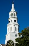 Church Steeple. Architecture details of a historic church steeple  in Charleston, SC Stock Images