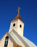 Church Steeple. Also featuring stained glass window with cross stock image