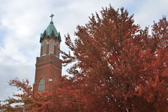 Church Steeple in Autumn Stock Images
