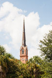 Church Steeple Beyond Tropical Trees Stock Image