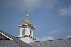 Church Steeple. On a bright sunny day.  Copy space Stock Image