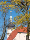 Church steeple with cross Royalty Free Stock Image