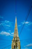Church Steeple and Electrical Wires Royalty Free Stock Photo