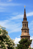 Church steeple and flowers. A church steeple in historic Charleston, South Carolina rises about a flowering tree Royalty Free Stock Image