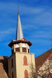 Church Steeple. Metal church steeple against a blue sky in winter Stock Photography