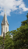 Church Steeple Over Trees in Savannah Stock Image