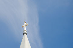 Church steeple, rooster on top with blue sky Royalty Free Stock Photos