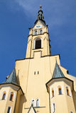 Church steeple in the town of Bad Toelz, Germany. Historic church steeple in the small town of Bad Toelz, Bavaria, against blue sky Royalty Free Stock Photo