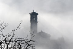 Church steeple and tree branches in fog Royalty Free Stock Photos