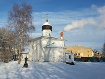 Church with a stone wall, Russian ancient temple. Church of Nicholas on a stone wall, Russia, Pskov city. The temple was built with limestone and lime mortar royalty free stock photos