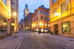 Church Storkyrkan in Stockholm, Sweden. Church of St Nicholas, Stockholm Cathedral or Storkyrkan at night, Gamla Stan in Old Town of Stockholm, the capital of stock image
