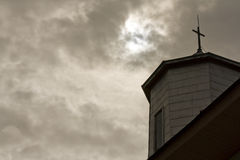 Church and storm clouds Royalty Free Stock Image