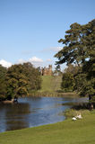 Church at Stowe Gardens and house Stock Photos