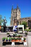 Church and street market, Tamworth. Stock Photo