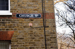 Church street sign. Church street sign on a brick wall Stock Images