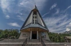 Church in Stromowce Nizne village with blue sky Royalty Free Stock Image