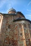 Church of Sts. Peter and Paul. In Kozhevniki (XV c.) Novgorod the Great, Russia. View from bottom to top Stock Photo
