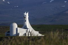 Stykkisholmur church Iceland, July 2014 royalty free stock image