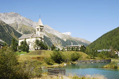 Church in Sulden. (Soldo), a town in the Vinschgau (South Tyrol, Italy Stock Photo