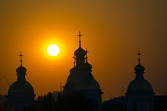 Church and sun Royalty Free Stock Image