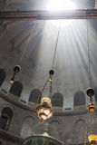 Church Sun Rays. The cieling of the churf of holy sepulcher ith sun rays Stock Images