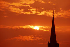 Church sunrise. Sunrise over St. Malachy church in Rantoul Stock Images