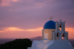Church during Sunrise, Fira, Santorini, Greece Stock Photos