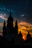Church in a sunset beams in Lviv, Ukraine. Sunshine church conto Stock Image