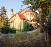 Church at sunset in the city Dobzhen Wielki Royalty Free Stock Photography