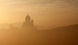 Church at sunset. Landscape with church at sunset Royalty Free Stock Photo