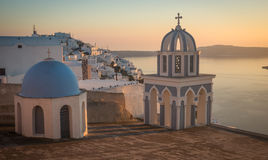 Church at sunset over  Caldera, Santorini, Greece Royalty Free Stock Photos