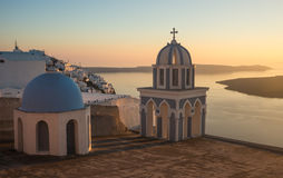 Church at sunset over  Caldera, Santorini, Greece Stock Photo