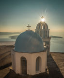 Church at sunset over  Caldera, Santorini, Greece Royalty Free Stock Photography