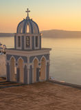 Church at sunset over  Caldera, Santorini, Greece Royalty Free Stock Images