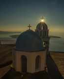 Church at sunset over  Caldera, Santorini, Greece Royalty Free Stock Image