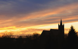 Church Sunset Silhouette Royalty Free Stock Photography
