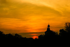 Church at sunset. Suzdal. Church silhouette at sunset. Suzdal. Vladimir region. Photographed 18.08.2008 Royalty Free Stock Images
