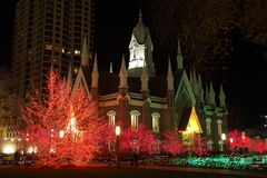 Church surrounded Christmas Lights Stock Photo