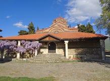 Church of Sveta Bogorodica Perivlepta against vivid blue sky, Ohrid, acedonia Royalty Free Stock Image