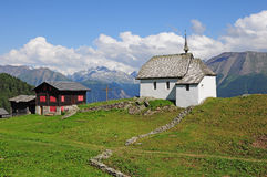 Church in Swiss Alps. Royalty Free Stock Photo