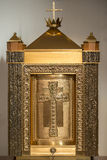 Church Tabernacle. Catholic Church Gold Tabernacle on neutral background stock images