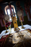 Church Table. Greek Orthodox Church Interior - Naxos stock image