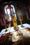 Church Table. Greek Orthodox Church Interior - Naxos stock photo