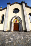 Church  in  the taino old   closed brick tower sidewalk italy Royalty Free Stock Photos