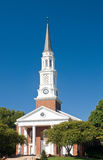 Church with tall steeple. A view of the tall steeple and front entrance to the campus church at the University of Maryland Royalty Free Stock Photos