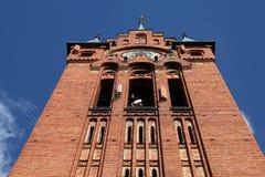 Church with telecommunications equipment. Poland - Bydgoszcz, city in Kuyavia (Kujawy) region. Church of Saint Andrew Bobola, neogothic landmark with masked Stock Image