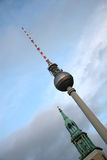 Church And Television Tower In Berlin. Church Versus Highest Television Tower In Berlin (AlexanderPlatz stock photo