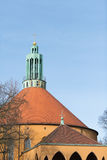 Church in Tempelhofer Feld, Berlin. The bells and clock on the tower of the Churh in Tempelhofer Feld Stock Image