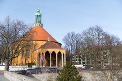 Church in Tempelhofer Feld, Berlin. Berlin, Germany  - March 25, 2017: Round church in Tempelhofer Feld, district near the former airport of the western part of Stock Image