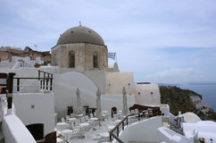 Church and terrace on Santorini Island. Royalty Free Stock Image